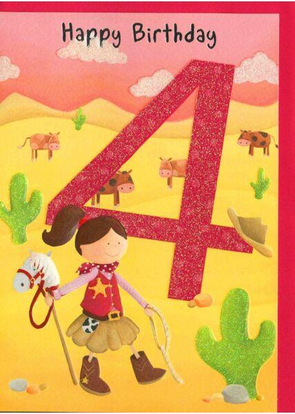 Geburtstagskarte Kind 4 Jahre Mädchen