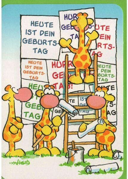 Leendert Jan Vis Geburtstagskarte Giraffen