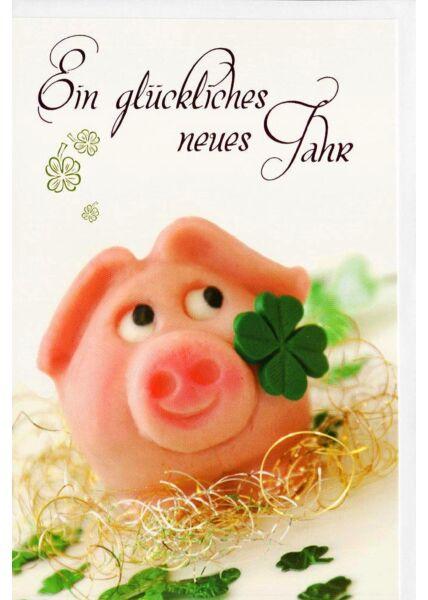 Grußkarten Neujahr Schwein Kleeblatt