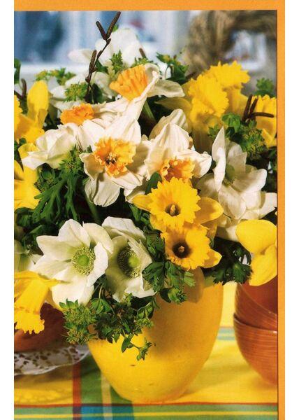 Grußkarte ohne Text Bluen gelb weiß Vase gelb