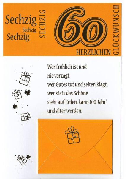 Geburtstag 60 Karte mit Kuvert für Geld