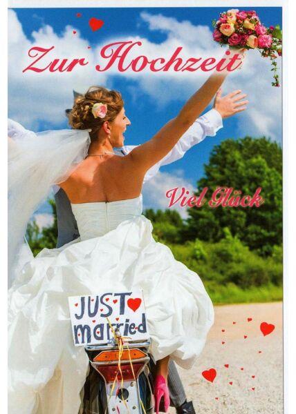 Hochzeitskarte Just Married Motorrad