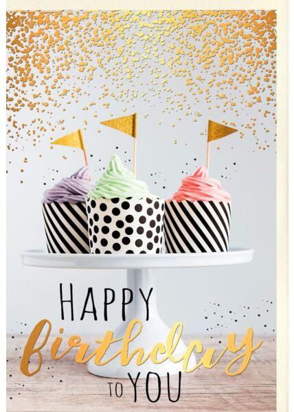Karte Geburtstag Cupcakes mit Fähnchen auf Tortenständer, mit Goldfolie