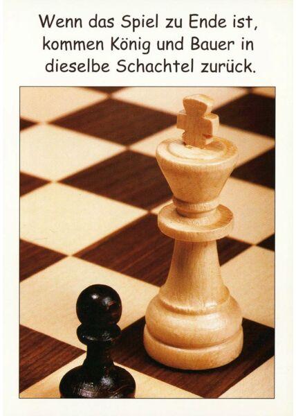 Postkarte Spruch König Bauer Schachtel