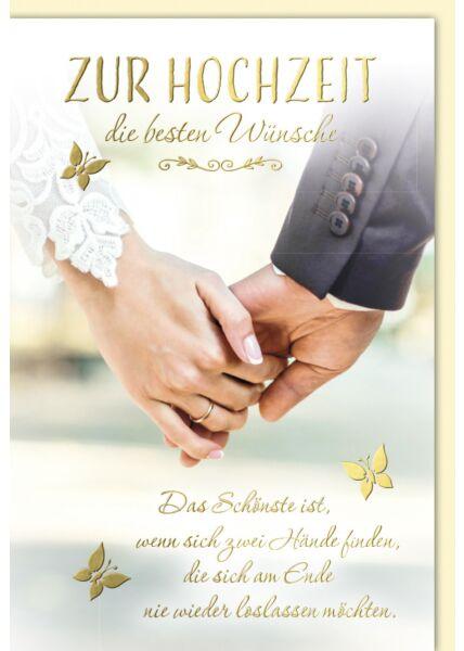 Hochzeitskarte mit Spruch Händchenhalten