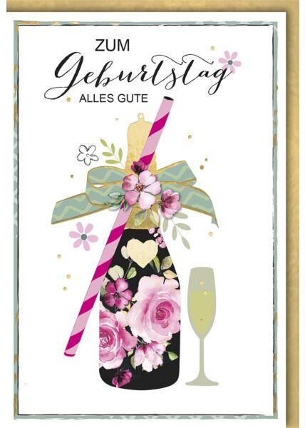 Geburtstagskarte premium originell Champagnerflasche mit Glas