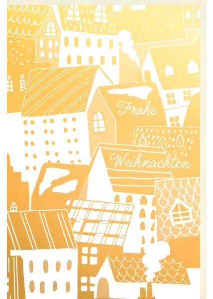 Business Weihnachtskarte premium Goldfolie Häuserdächer