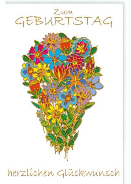 Glückwunschkarte Geburtstag Blumen, Naturkarton, und Goldfolie