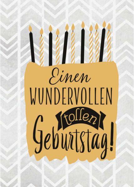 Geburtstagspostkarte Einen wundervollen tollen Geburtstag