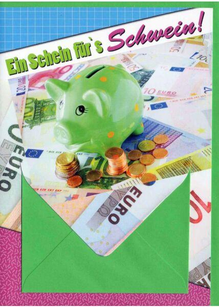 Geldkarte mit Geldfach: Sparschwein grün
