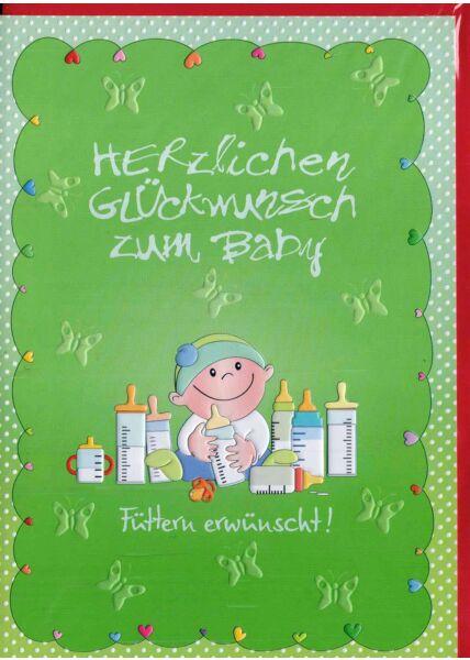 Glückwunschkarte Baby: Füttern erwünscht