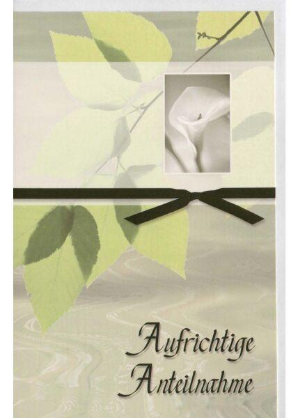 Kondolenzkarte Ast mit Blättern Aufrichtige Anteilnahme