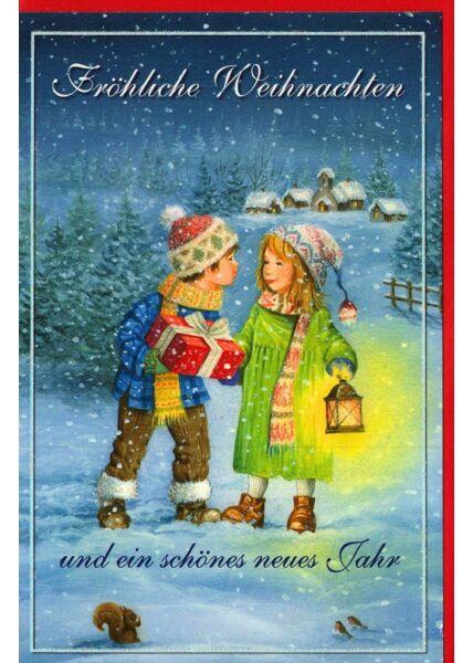 Nostalgische Weihnachtskarte Kinder Laterne Schnee