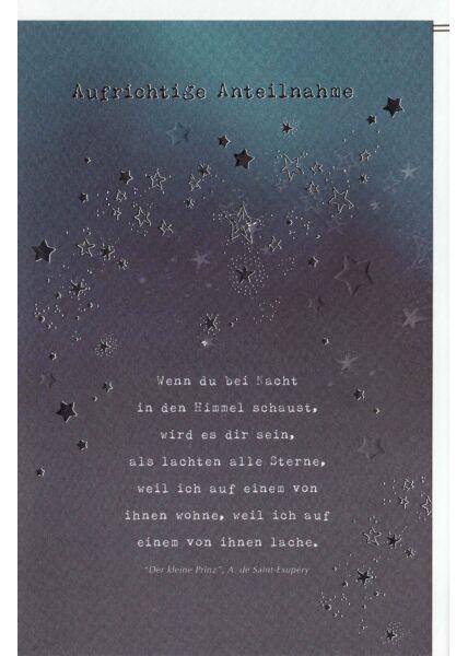 Trauerkarte Sternenhimmel, Naturkarton, mit Silberfolie und Blindprägung