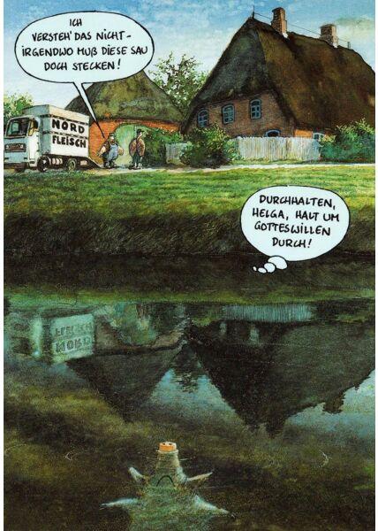 Postkarte Bauernhof Sau im See