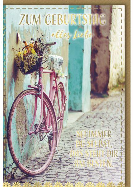 Geburtstagskarte - rosa Fahrrad