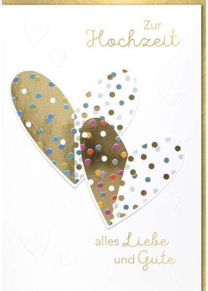 Hochzeitskarte Maxi, XXL DIN A4 2 Herzen mit Punkte