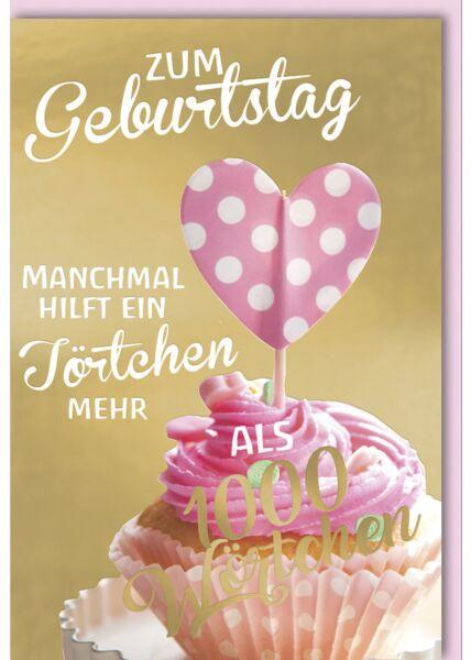 Geburtstagskarte für Frauen Cupcake mit rosa Topping