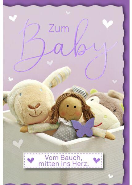 Glückwunschkarte Geburt Mädchen Plüschtiere