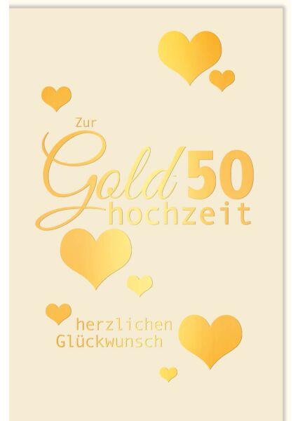 Glückwunschkarte goldene Hochzeit Herzen gold