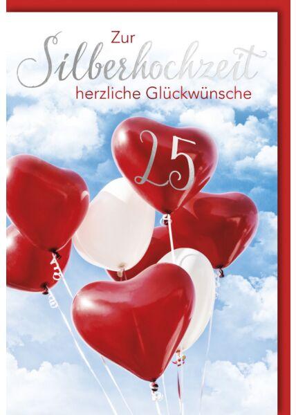 Glückwunschkarte Silberhochzeit Luftballons rot weiß
