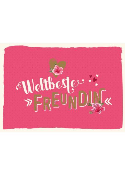 Postkarte Freundschaft Spruch Weltbestefreundin