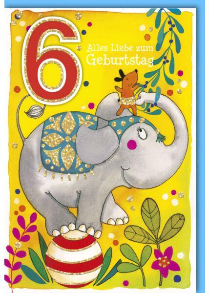 Geburtstagskarte für Kinder 6 Jahre Elefant auf Ball