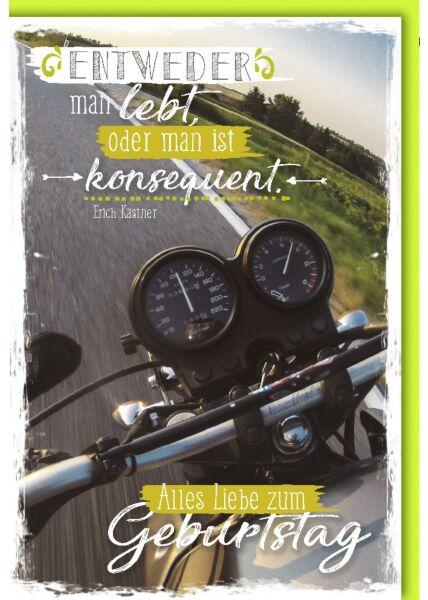 Geburtstagskarte für Männer Motorradtacho