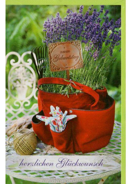 Geburtstagskarte Lavendel in roter Tasche