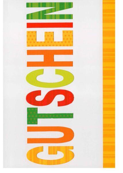 Grußkarte Gutschein bunte Buchstaben
