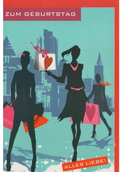 Geburtstagskarte Frauen Shopping