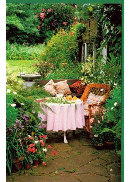 Grußkarte Garten Tisch Bank Sommer gemütlich kein Text