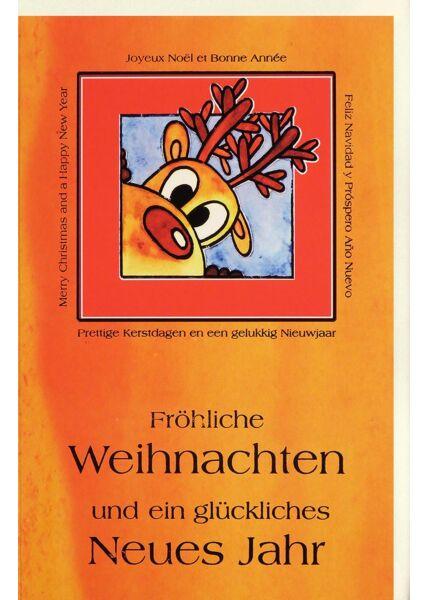 Weihnachtskarte international Elch orange