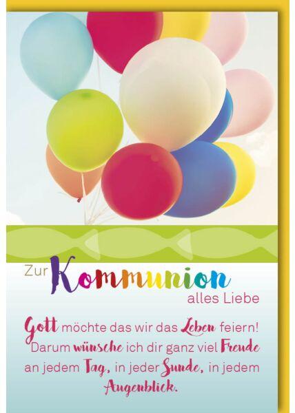 Glückwunschkarte Kommunion - Bunte Luftballons