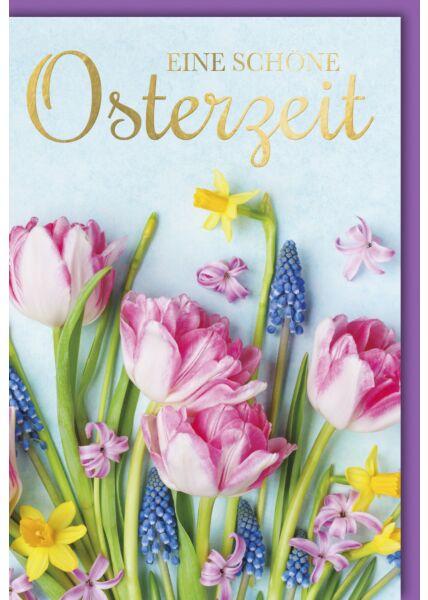 Osterkarte - blühende Tulpen und Nelken
