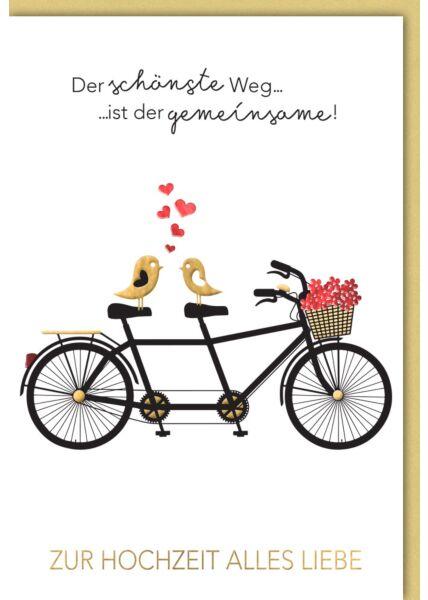 Hochzeitskarte premium originell Tandem-Fahrrad