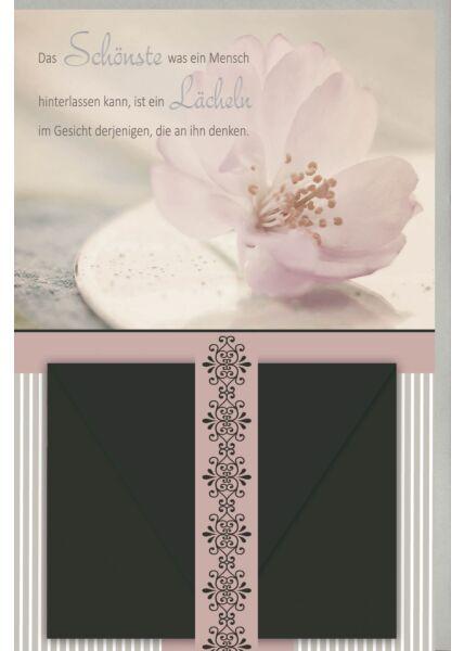 Kondolenzkarte mit Geldkuvert Kirschblüte, mit schwarzem Geldkuvert, gestanzt, mit Silberfolie