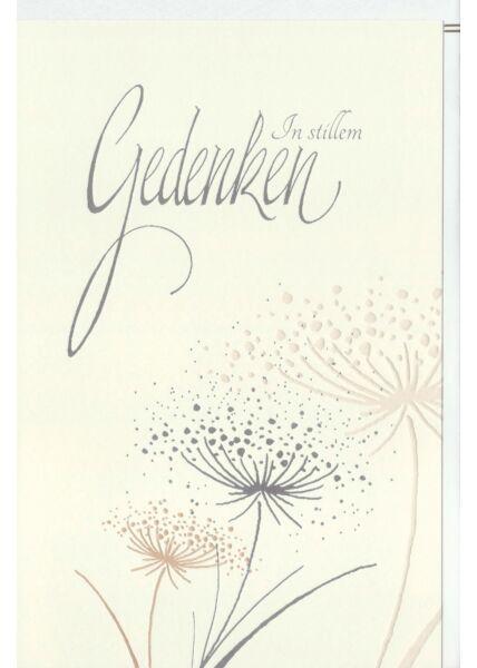 Trauerkarte Beileid Pusteblumen, Naturkarton, mit Silberfolie und Blindprägung