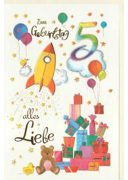 Kindergeburtstag Karte 5Jahre Rakete und Geschenke, Naturkarton, mit Goldfolie und Blindprägung