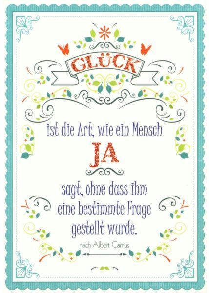 Postkarte Sprüche Glück ist die Art,...