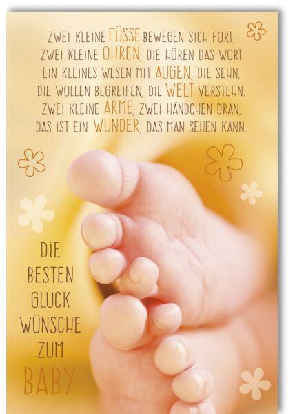 Glückwunschkarte zur Geburt Zwei kleine Babyfüße