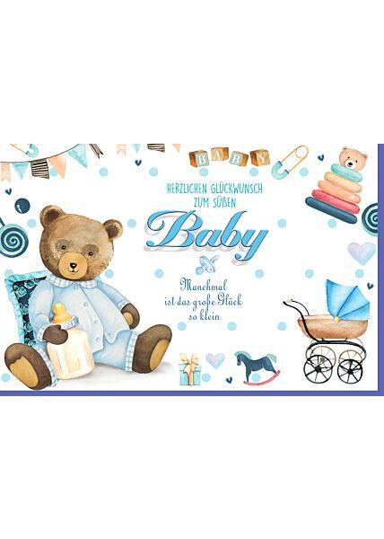 Glückwunschkarte Geburt Junge Teddy blau Herzlichen Glückwunsch