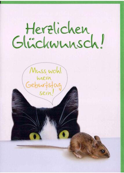 Lustige Geburtstagskarte mit Katze und Maus