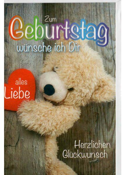 Geburtstagskarte mit Teddybären und Herzen