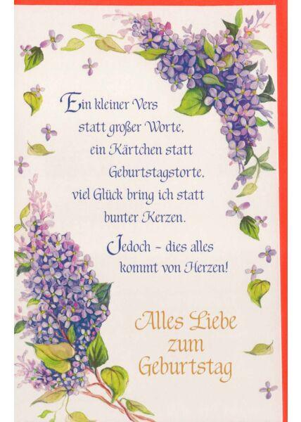 Geburtstagskarte mit langem Spruch