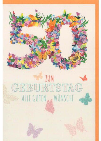 Glückwunschkarte 50 Geburtstag Schmetterlinge