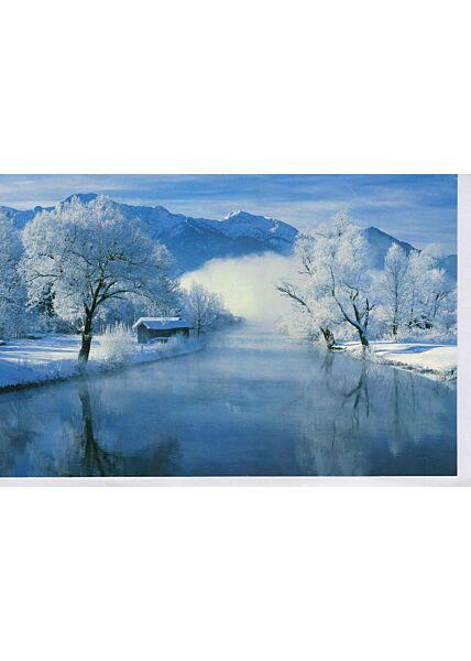 Grußkarte Wintermotiv blanko Winterlandschaft