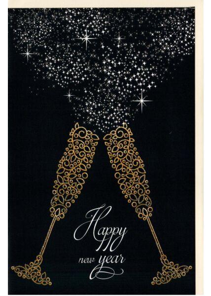 Neujahrskarte 2 illustrierte Sektgläser, mit Glimmer