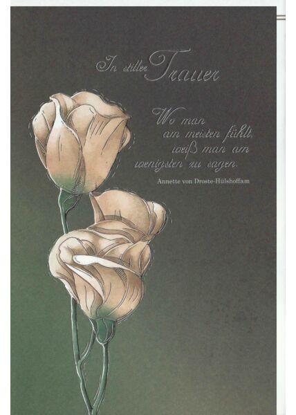 Kondolenzkarte Blume, Naturkarton, mit Silberfolie und Blindprägung