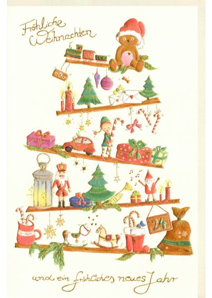 Weihnachtskarte premium Naturpapier Goldfolie Weihnachtssymbole